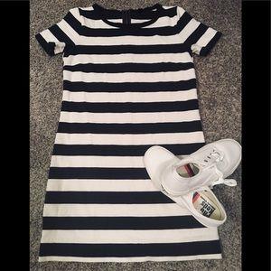 J.Crew Navy and White Stripe Tee Shirt Dress XXS
